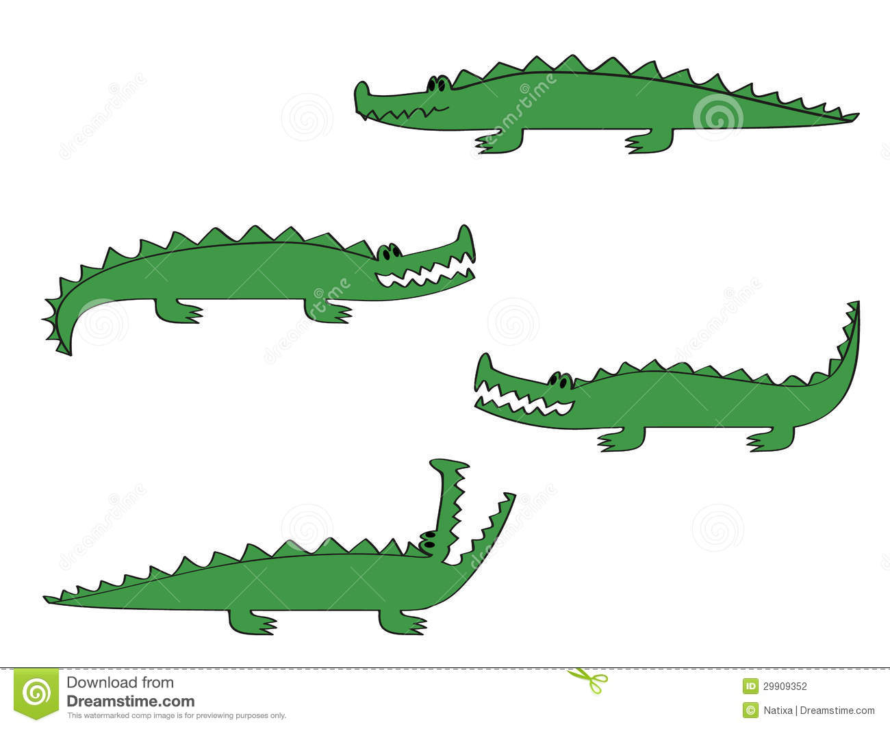 cartoon crocodile in four different poses illustration.