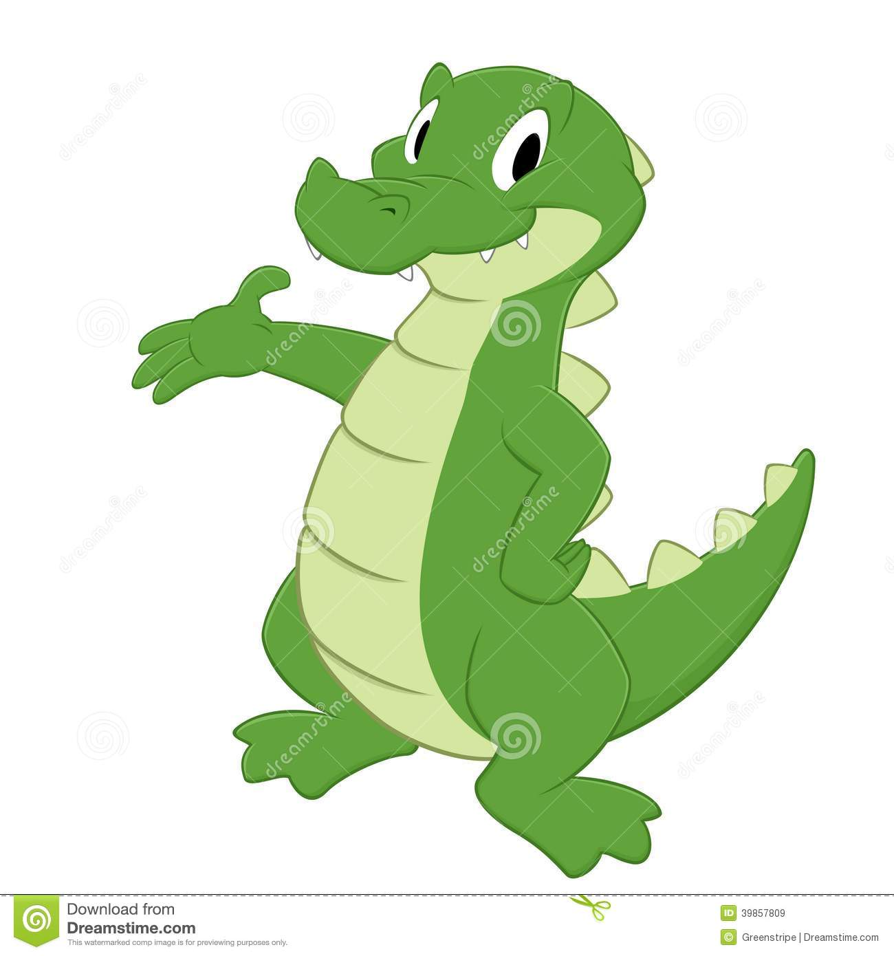 Cartoon crocodile. Isolated object for design element.
