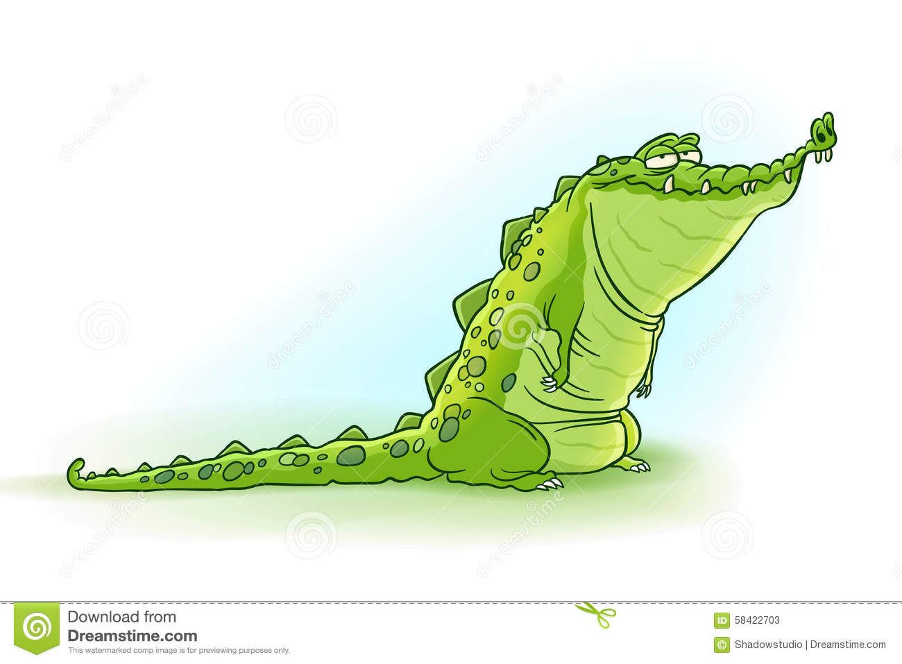 Vector illustration of cute and crazy cartoon crocodile.