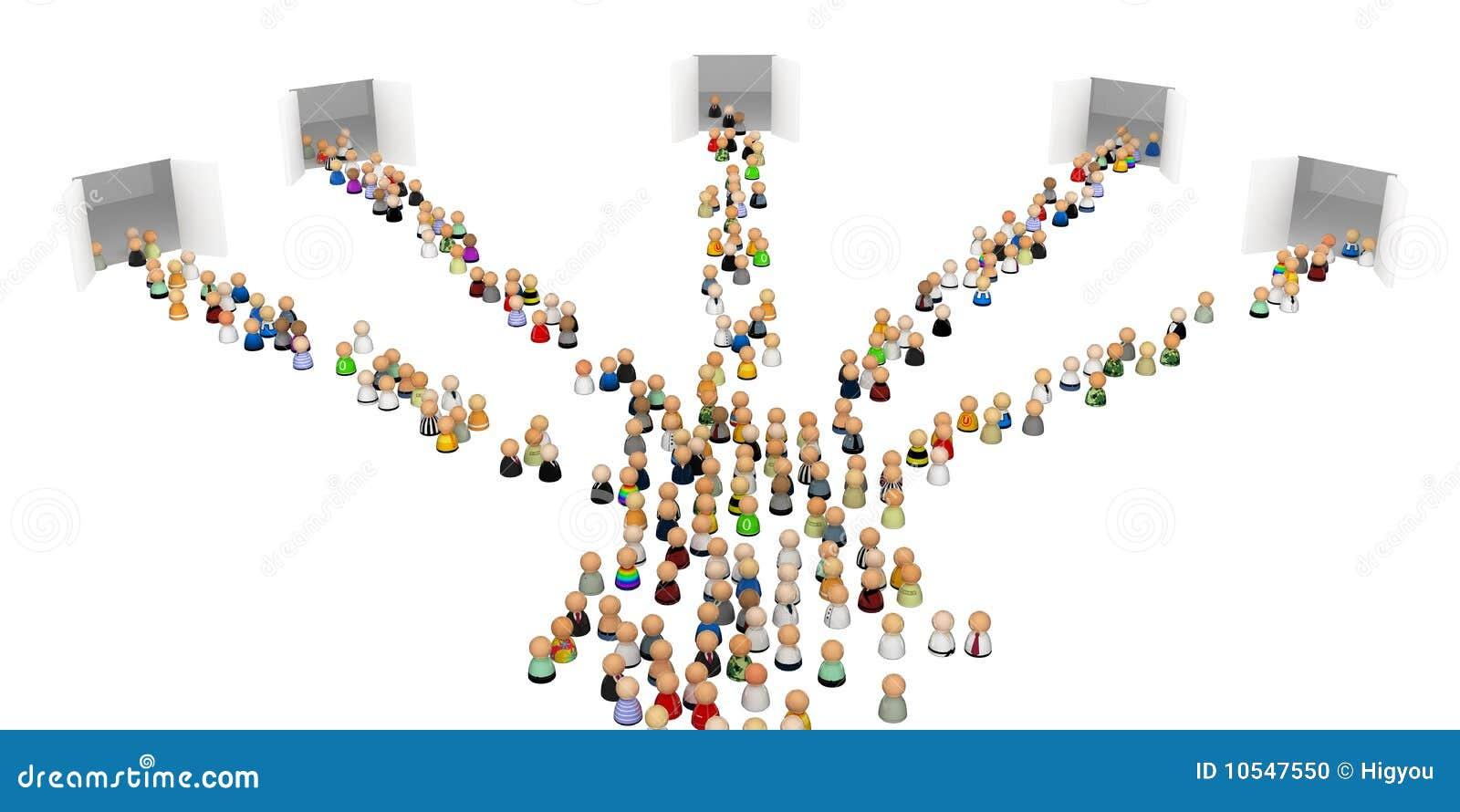 Cartoon Crowd, 5 Gates stock illustration. Illustration of ...