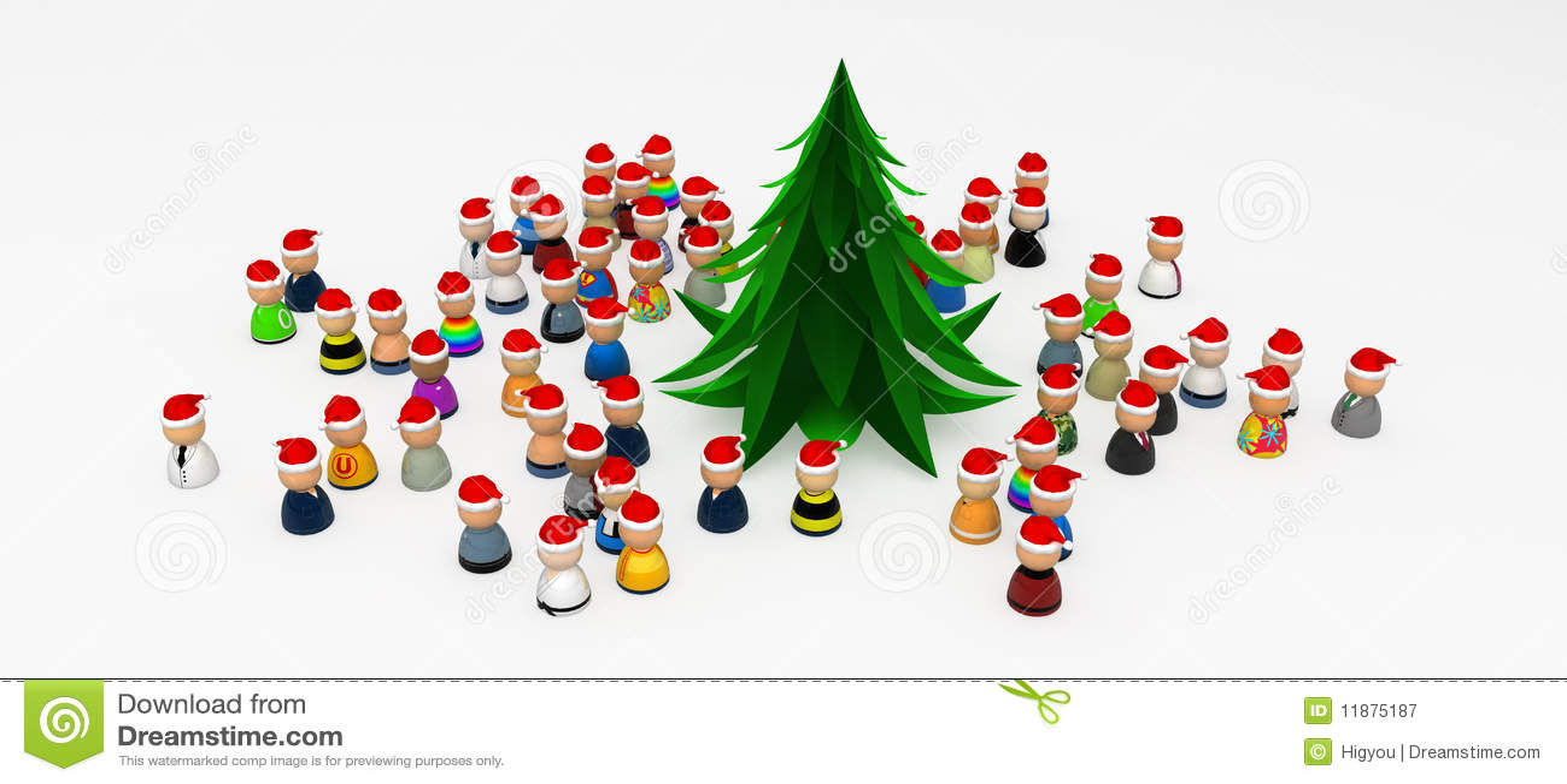 ... Around Christmas Tree Royalty Free Stock Photography - Image: 11875187