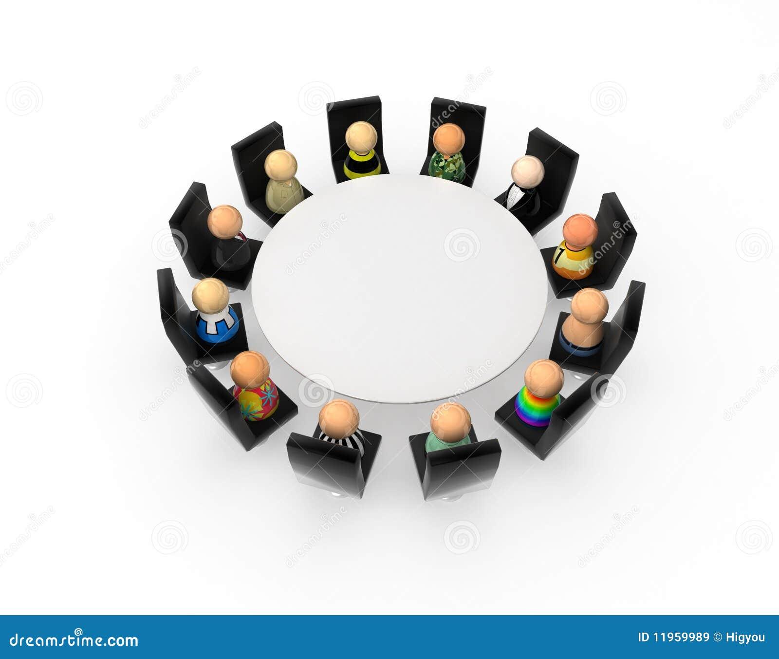 Cartoon Crowd Round Table Stock Illustration