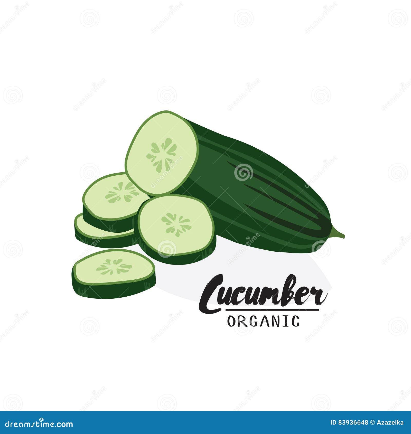 Cartoon Cucumber. Ripe Green Vegetable. Vegetarian ...