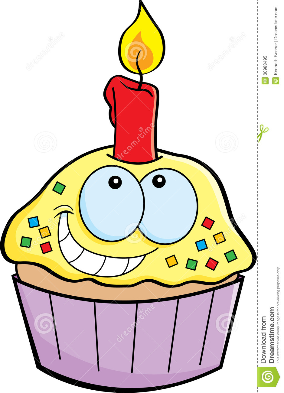 Cartoon Cupcake With A Candle Royalty Free Stock Photo - Image ...