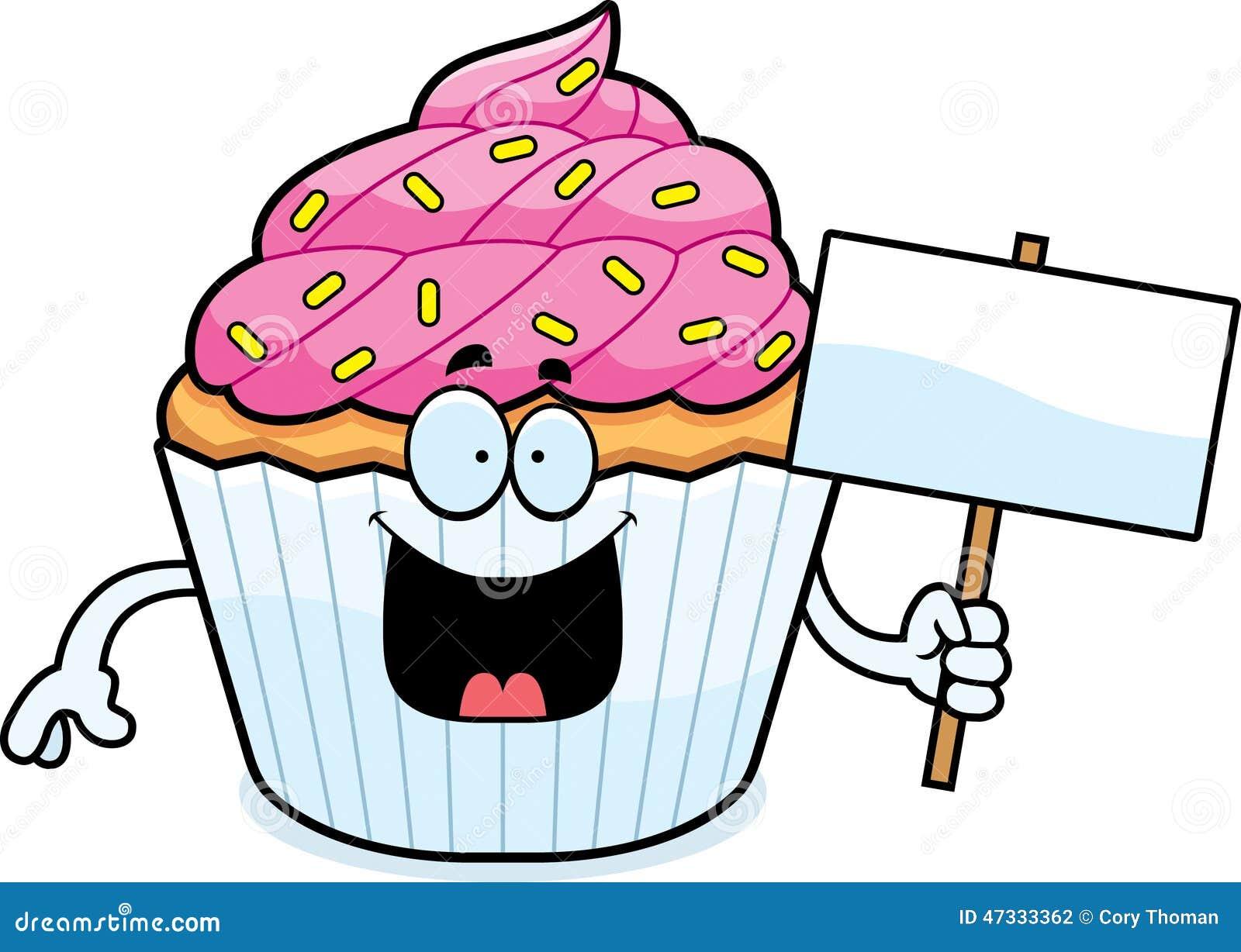 Cartoon Cupcake Sign S...
