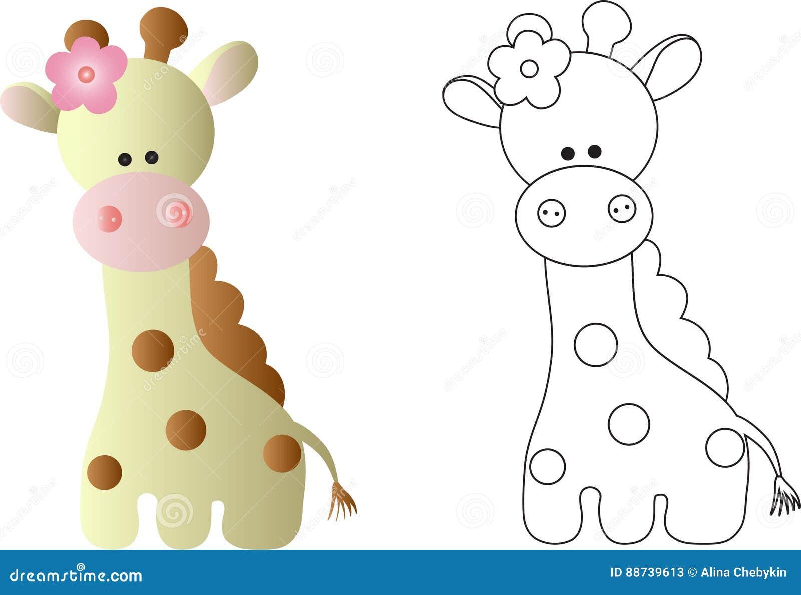 Cartoon Cute Baby Giraffe In Color And Line Art Stock Vector