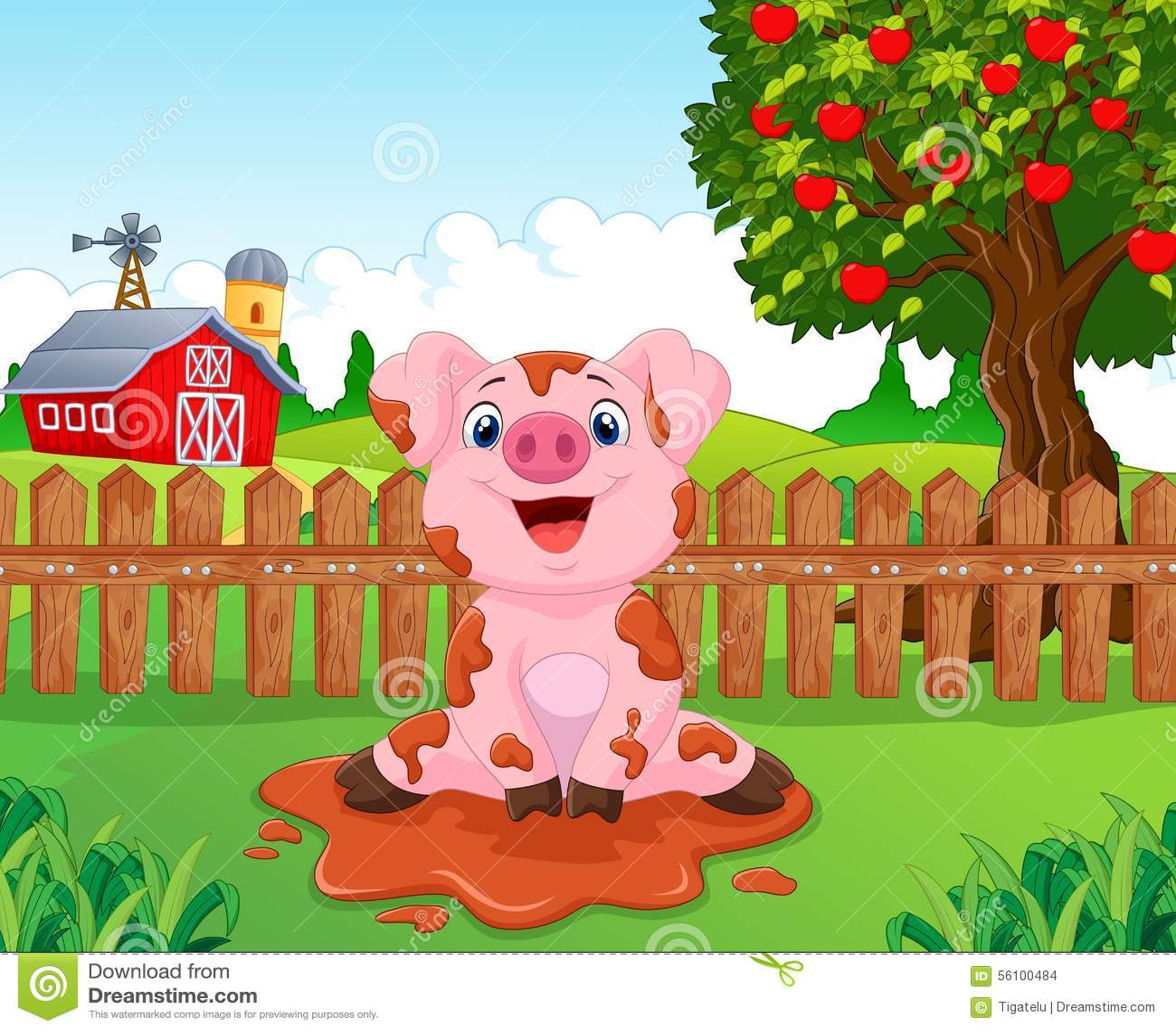 Garden Cute Cartoon: Cartoon Cute Baby Pig In The Garden Stock Vector