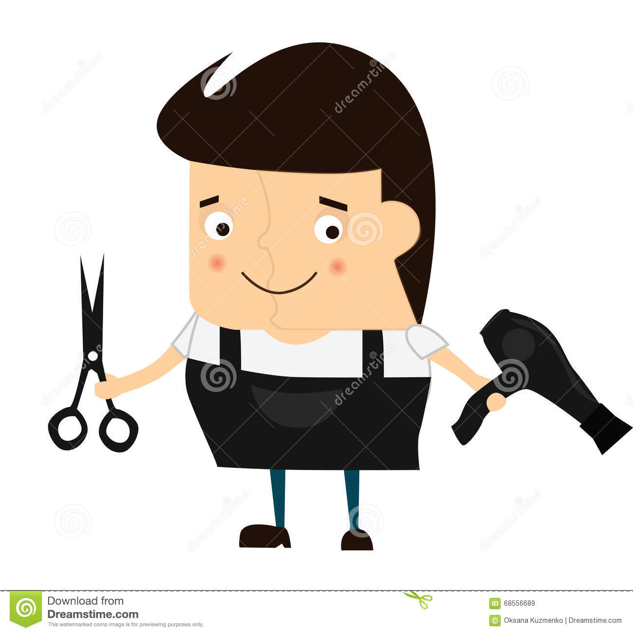 cartoon cute barber hairdresser with scissors and a hair scissors clipart cute scissors clip art dotted line
