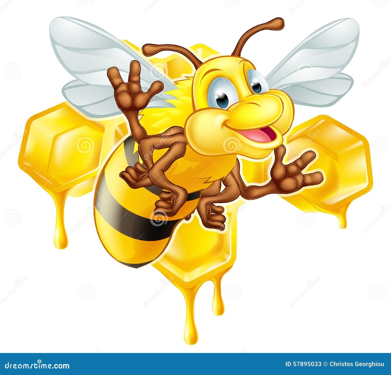 Cartoon Cute Bee And Honey Stock Vector