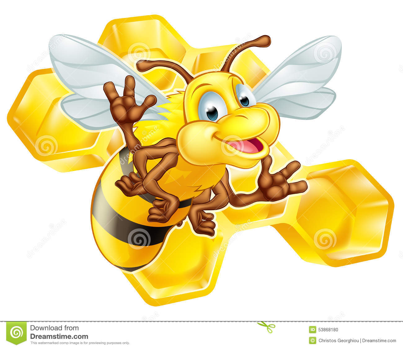 cartoon cute bee with honeycomb stock vector image 53868180