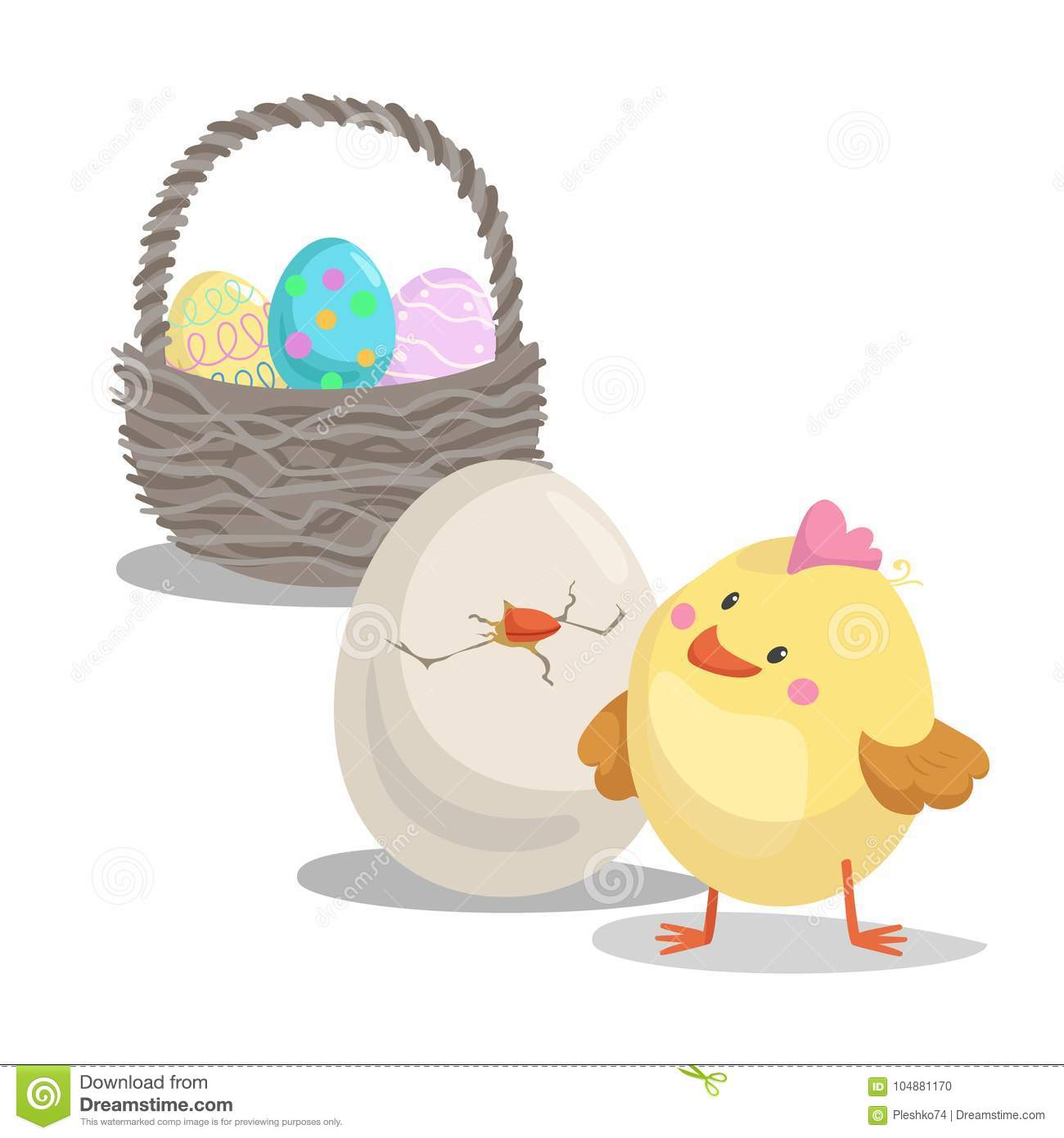Cartoon Cute Boy Chick Looking On Hatched Egg And Basket With