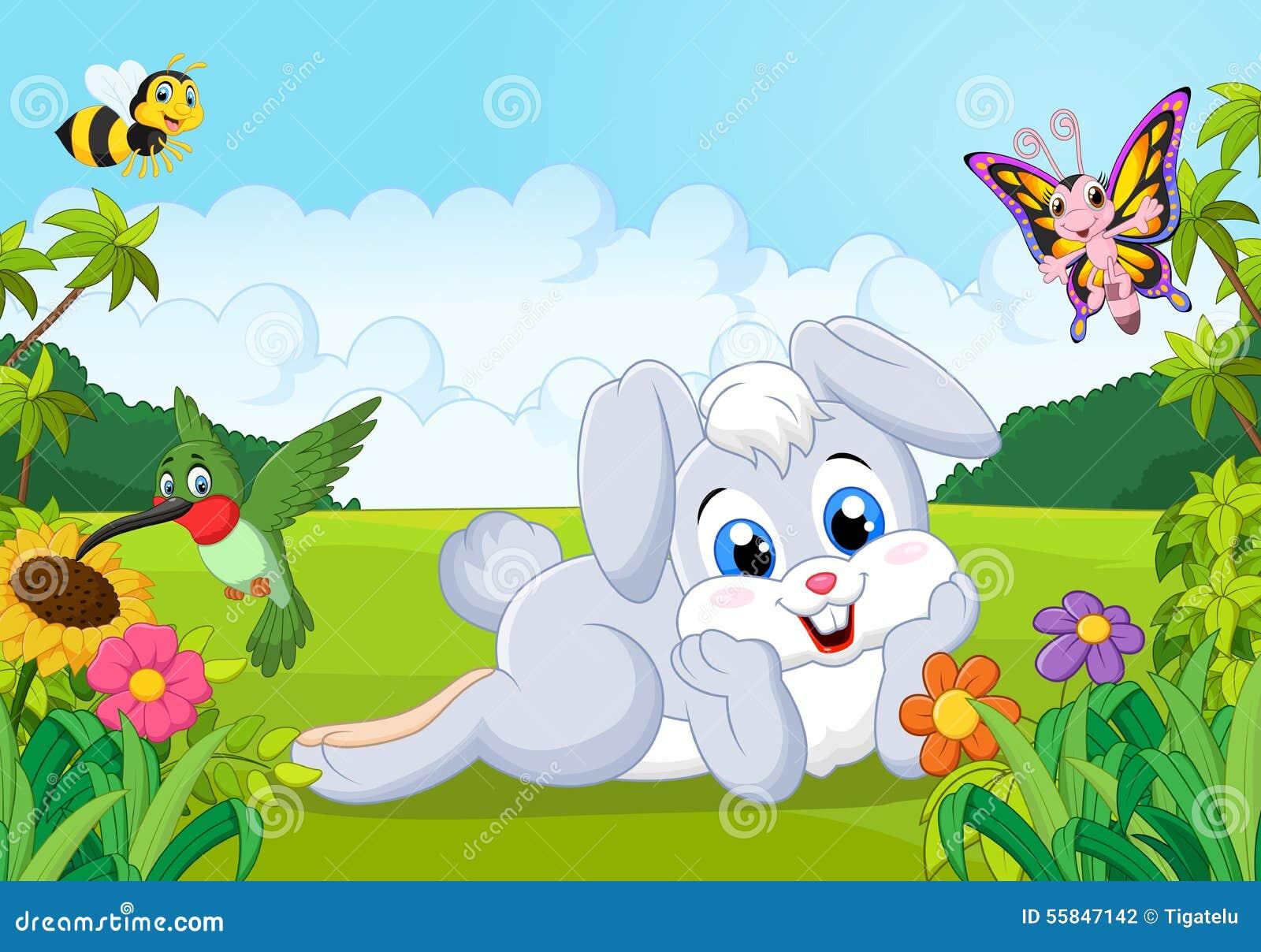 Cartoon Cute Bunny In The Jungle Stock Vector Image