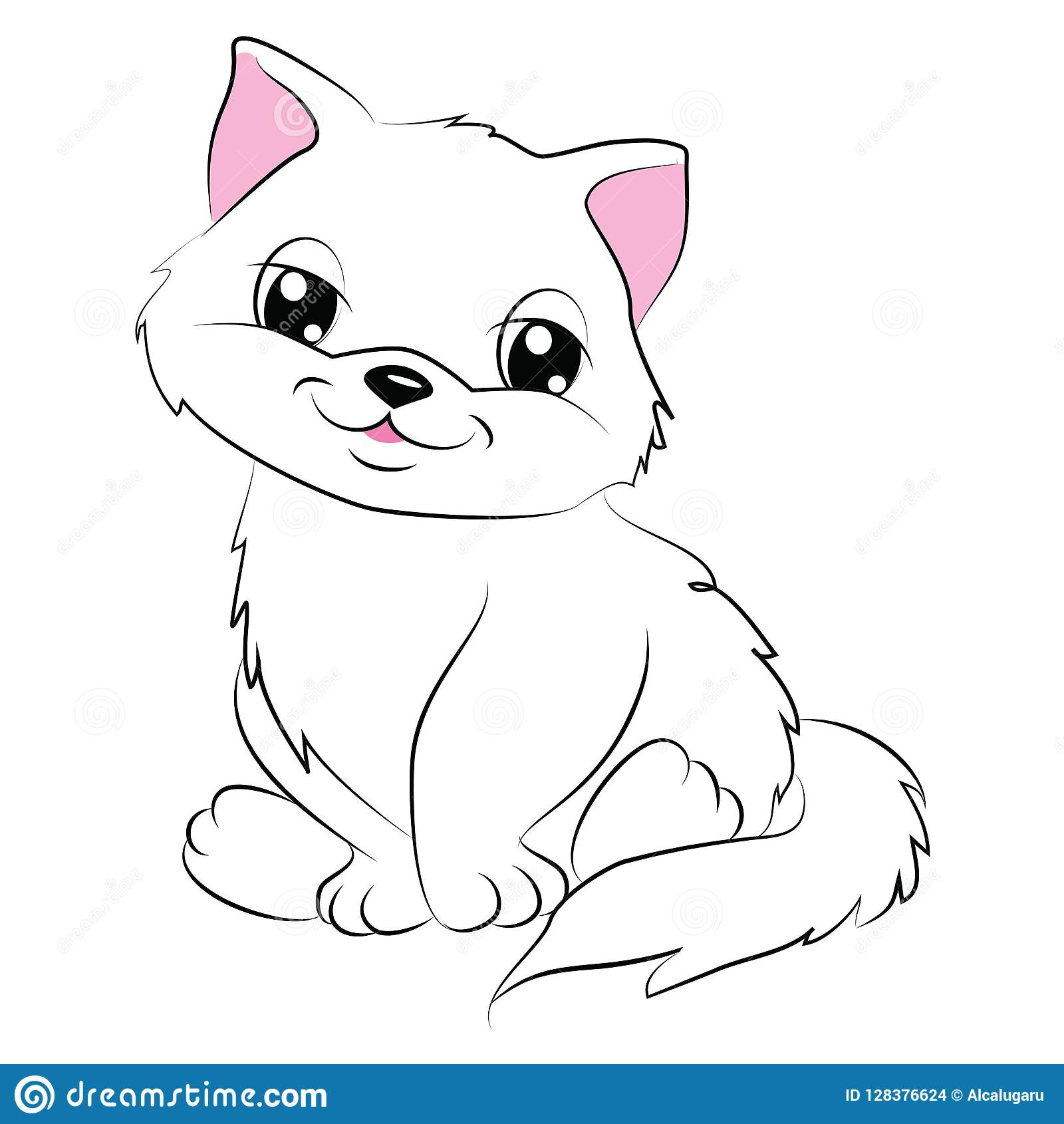 Cartoon Cute Cat Coloring Page Stock Vector - Illustration ...