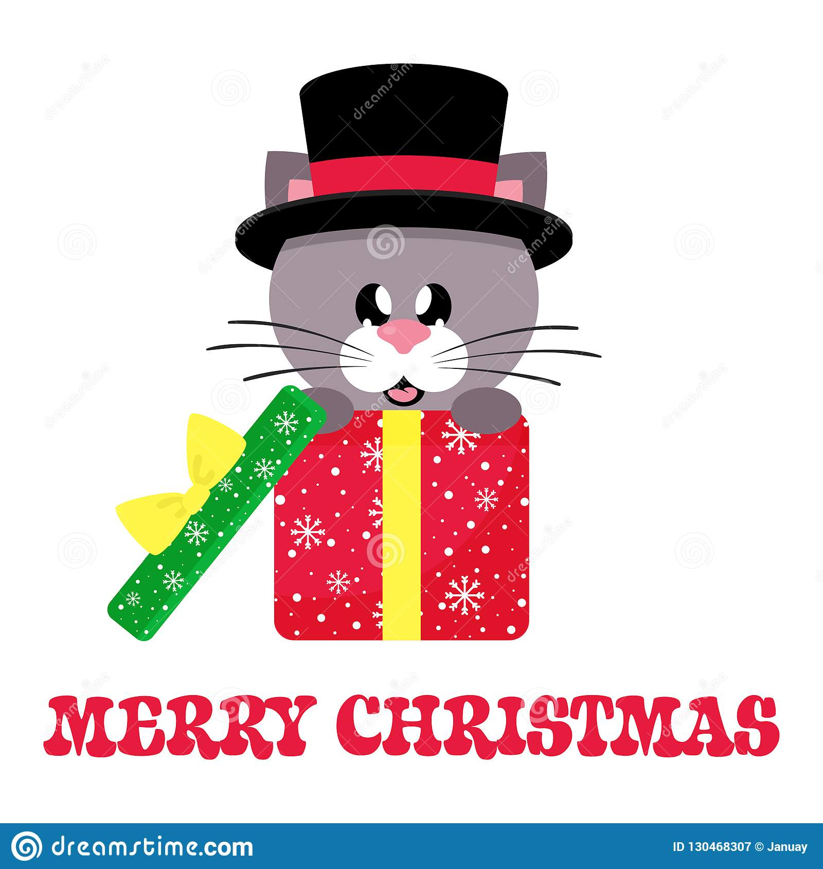 Cartoon cute cat sitting in hat in christmas gift and christmas text