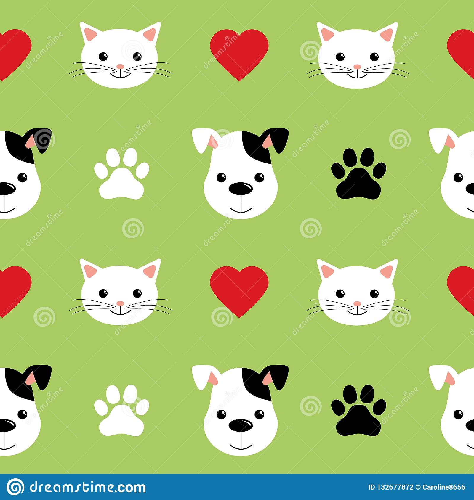 Cartoon Cute Cats And Dogs Vector Seamless Pattern Good For Background Wallpaper Cover Textile And Card For Children Stock Vector Illustration Of Kitten Card 132677872
