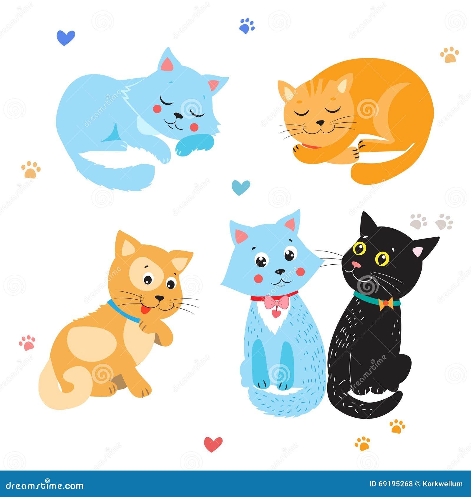 Cartoon Cute Cats Vector. Set Of Various Cute Cats