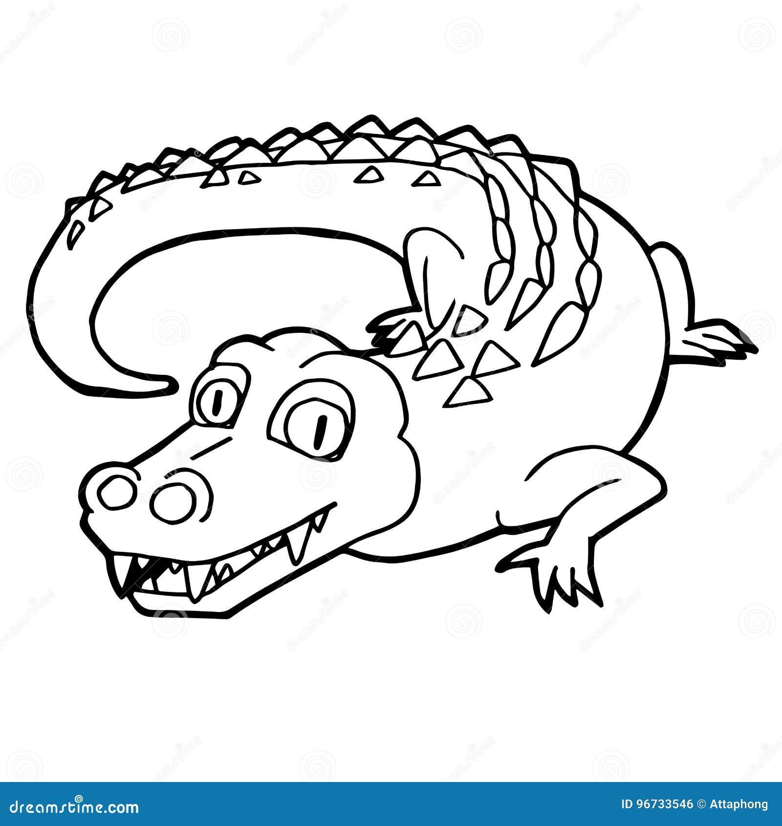 cartoon cute crocodile coloring page vector stock vector - illustration of  animal, happy: 96733546  dreamstime.com