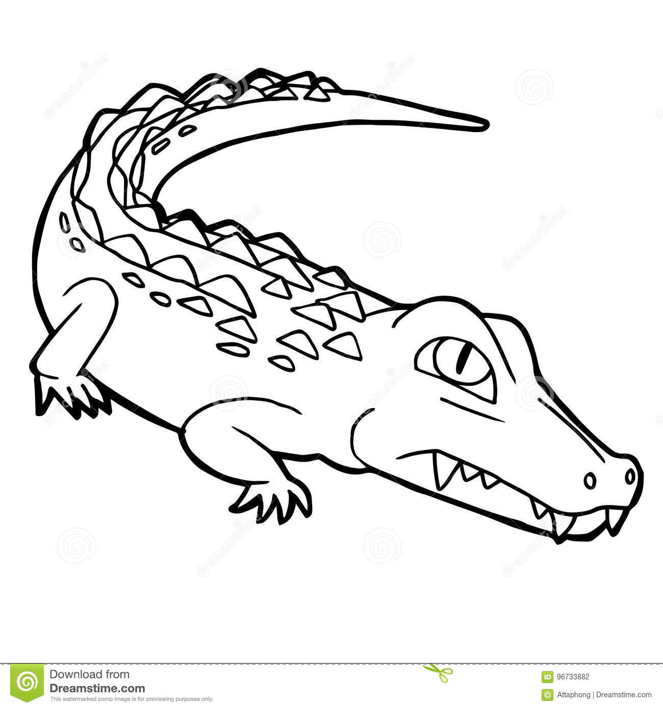 download cartoon cute crocodile coloring page vector stock vector illustration of cartoon caiman