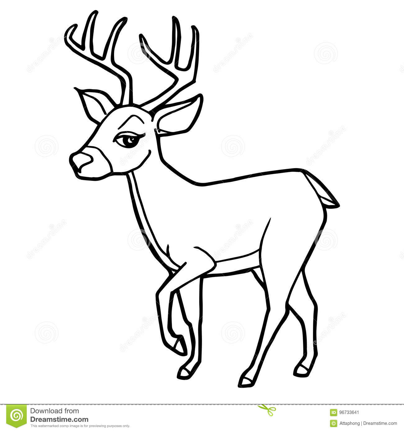 Cartoon Cute Deer Coloring Page Vector Stock Vector Illustration