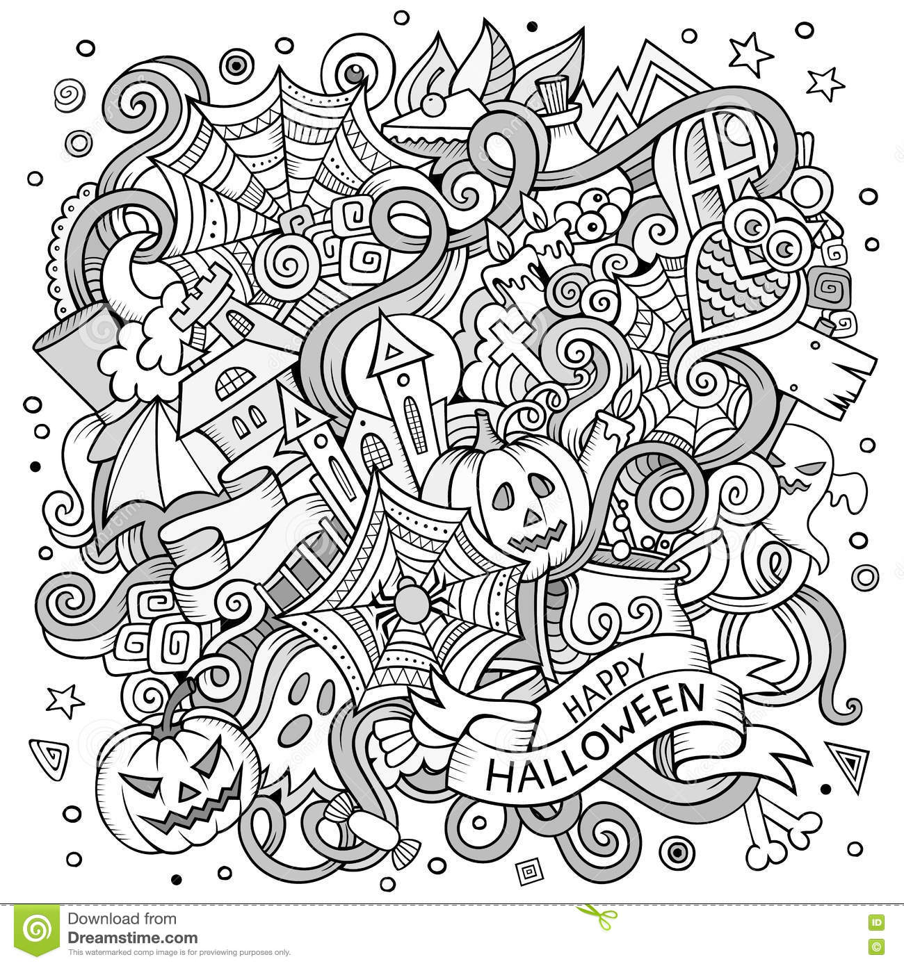Cartoon cute doodles hand drawn halloween illustration for Coloring pages with lots of detail