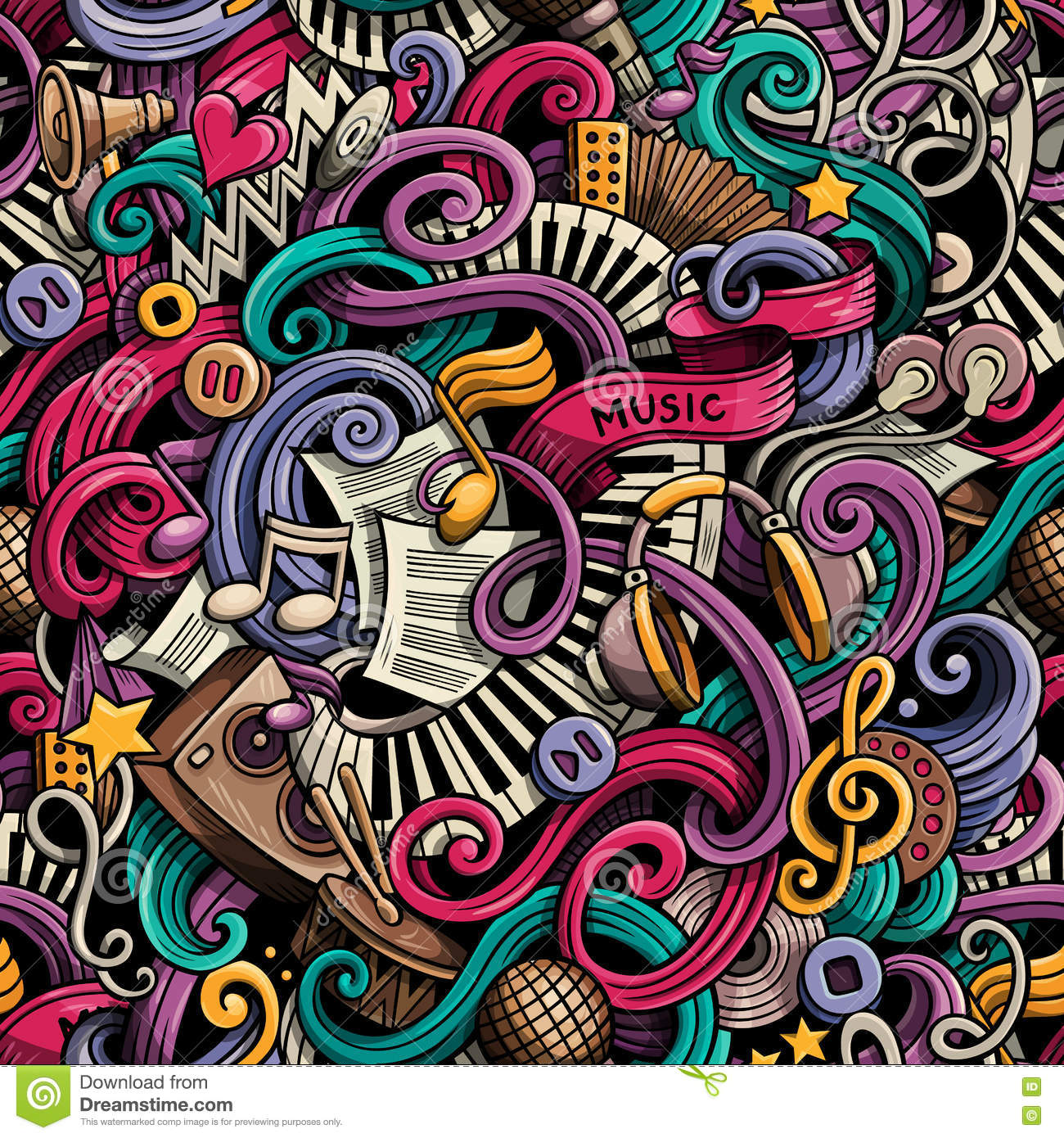 Cartoon cute doodles hand drawn Music seamless pattern. Colorful