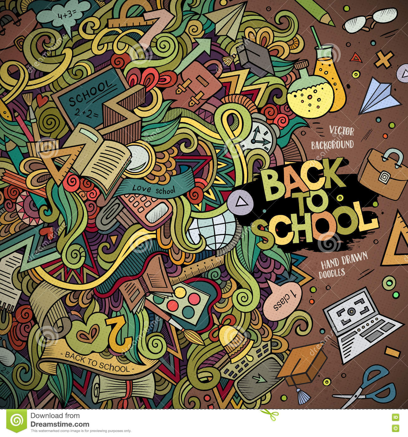 Colorful Detailed With Lots Of Objects Background Funny Vector Illustration Bright Colors Border Education Theme Items