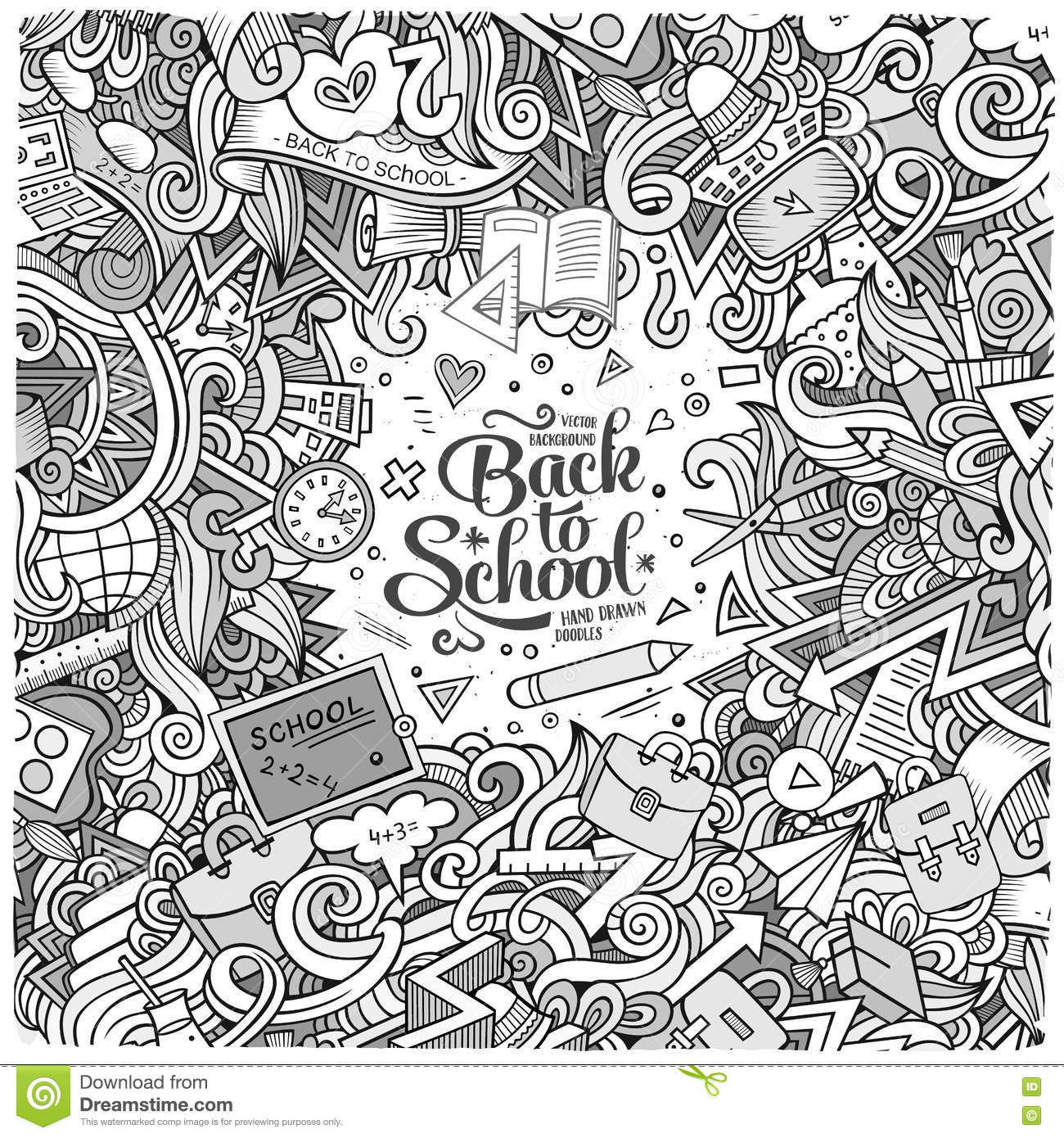 Line Drawing Doodles : Cartoon cute doodles hand drawn school frame stock vector