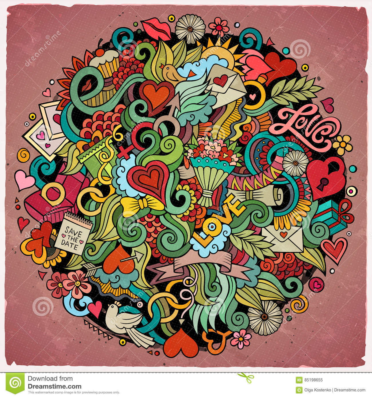 Colorful Detailed With Lots Of Objects Background Funny Vector Artwork Bright Colors Picture Love Theme Items