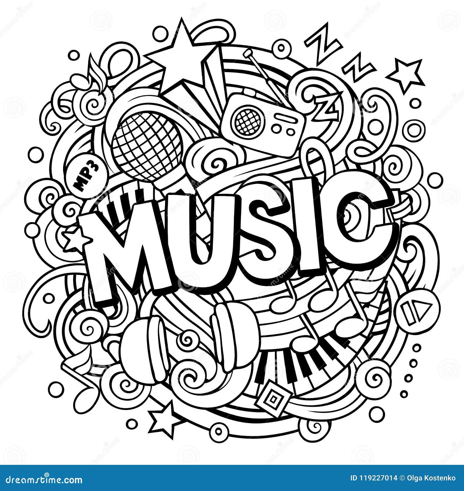Cartoon Cute Doodles Music Word Stock Vector - Illustration