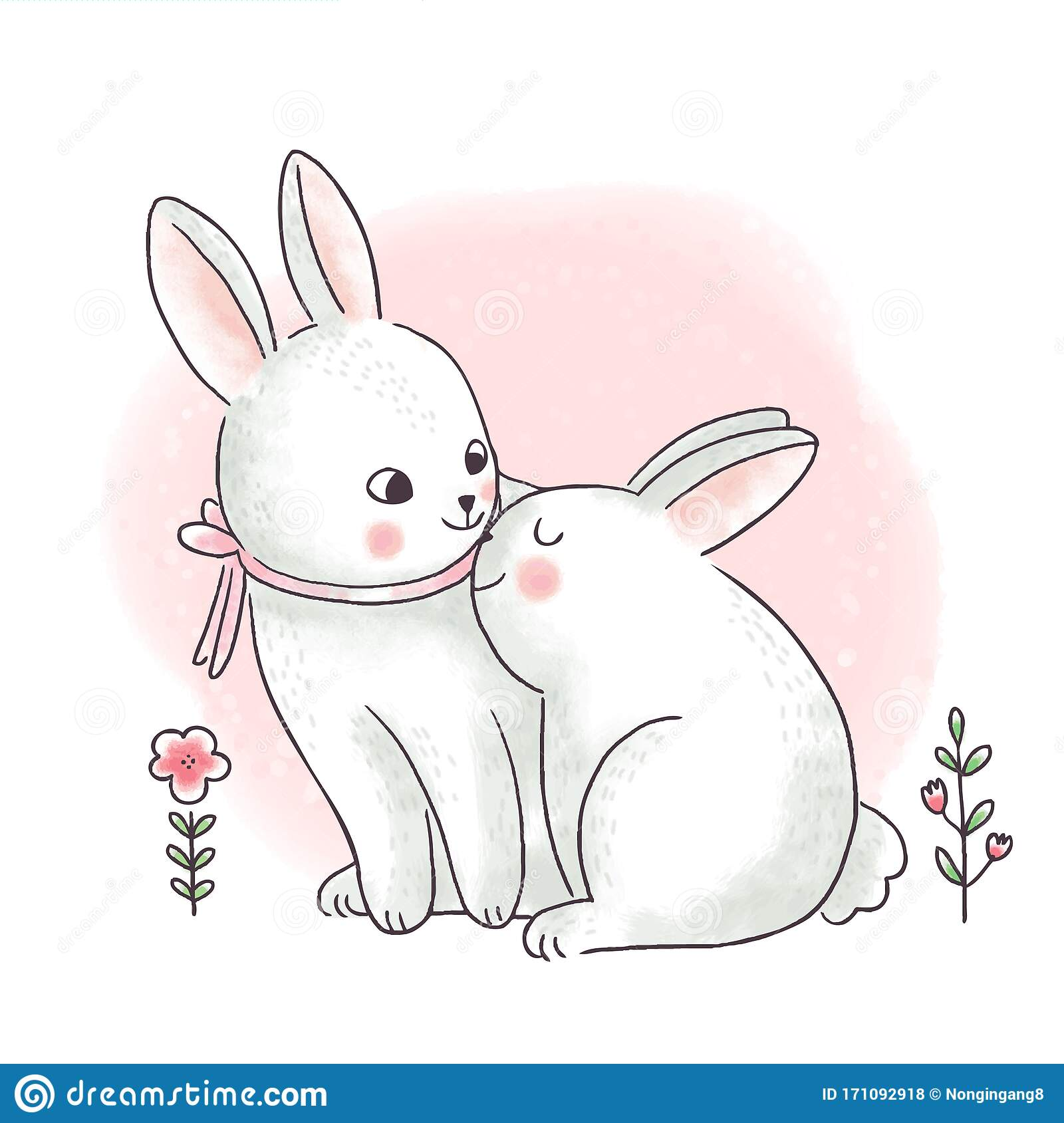 Cartoon Cute Easter Day Mom And Baby Rabbits Stock Illustration Illustration Of Lovely White 171092918