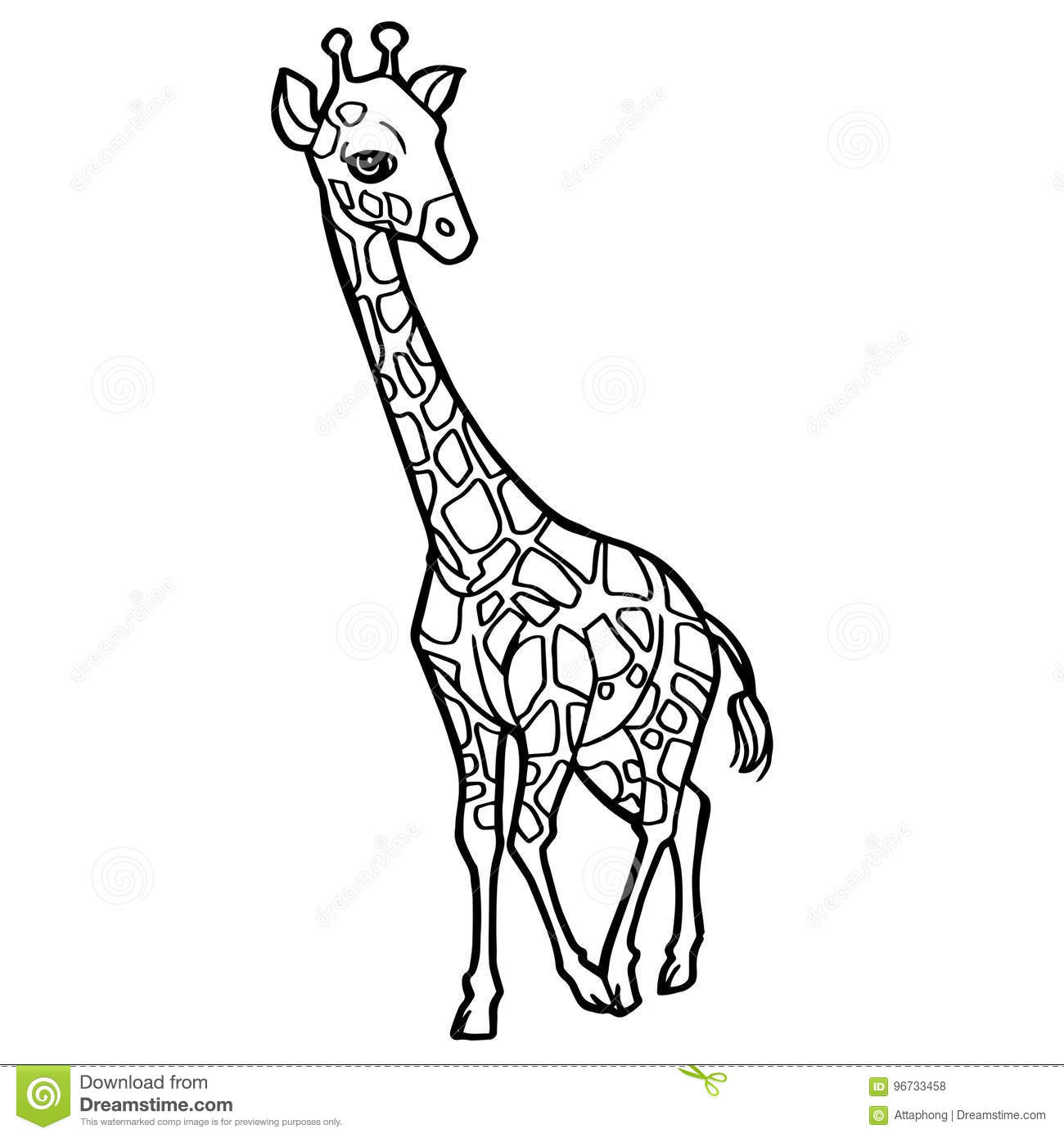 cartoon cute giraffe coloring page vector stock vector