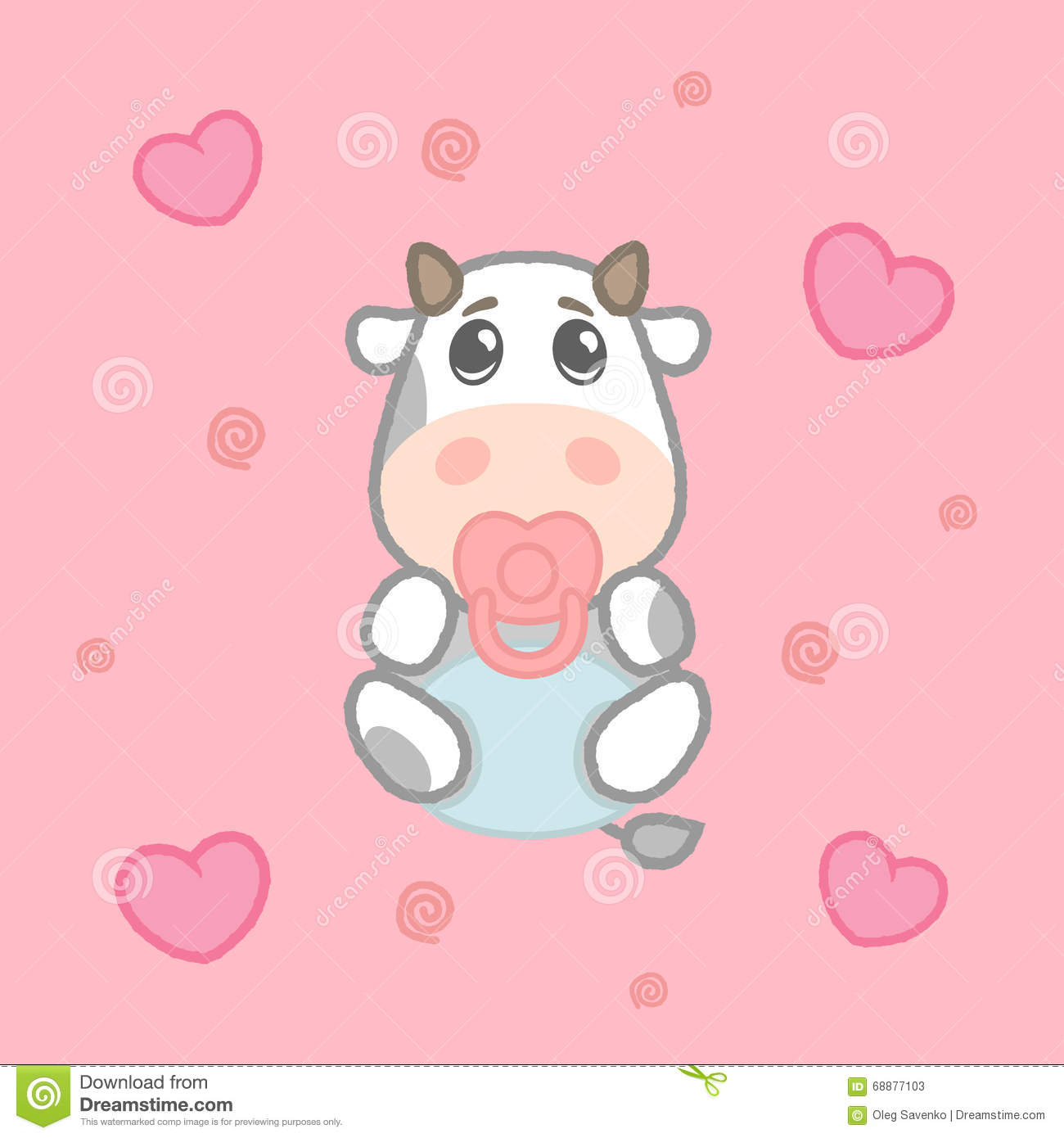 Cartoon Cute Girl Cow Baby In Diaper Drawing For Kids Vector