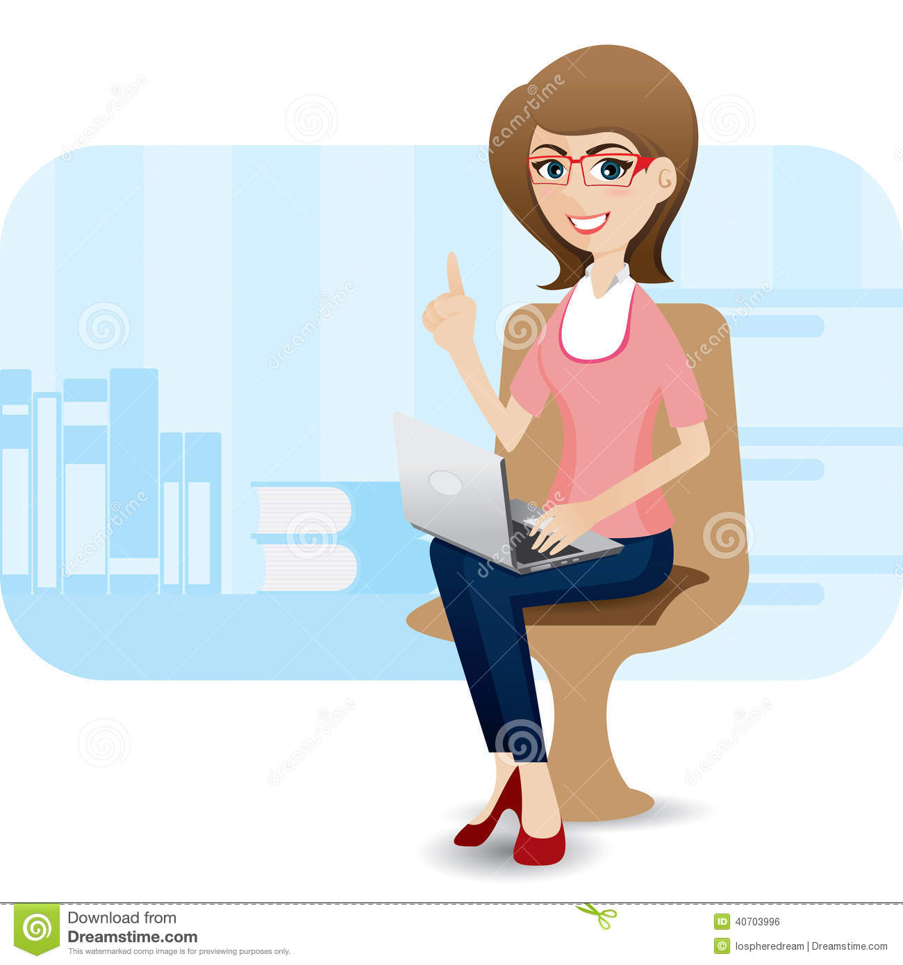Cartoon Cute Girl With Laptop At Office Stock Vector
