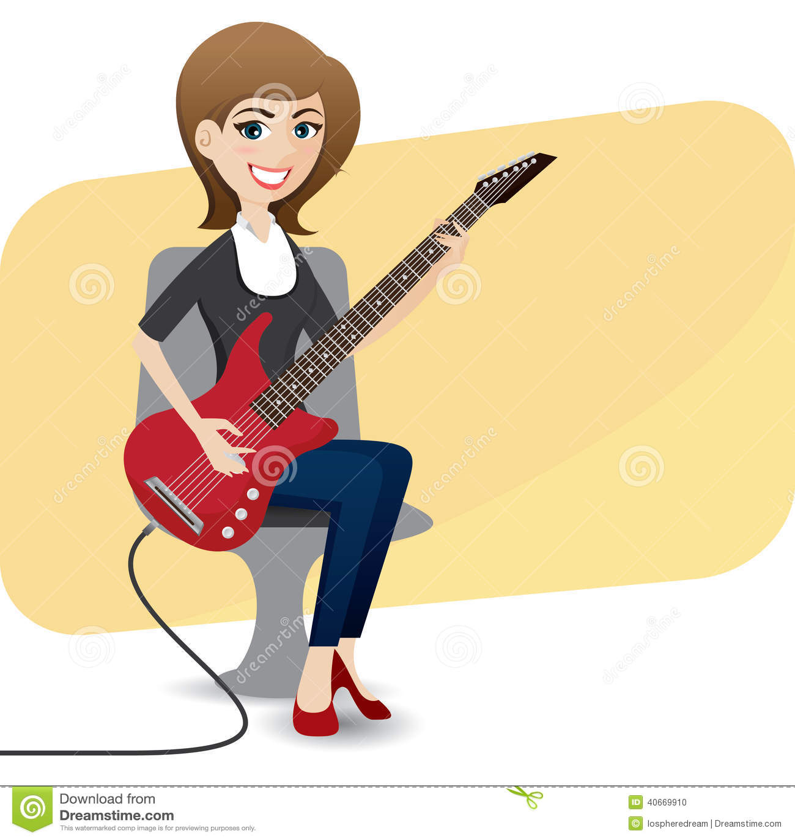 Girl playing guitar. Cute little girl playing guitar ...  Cartoon Girl Guitarist