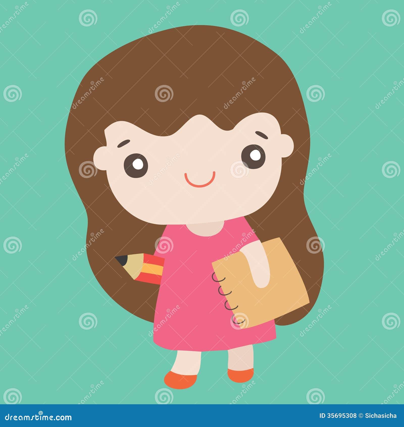 cartoon cute girl smiling stock vector. illustration of vector