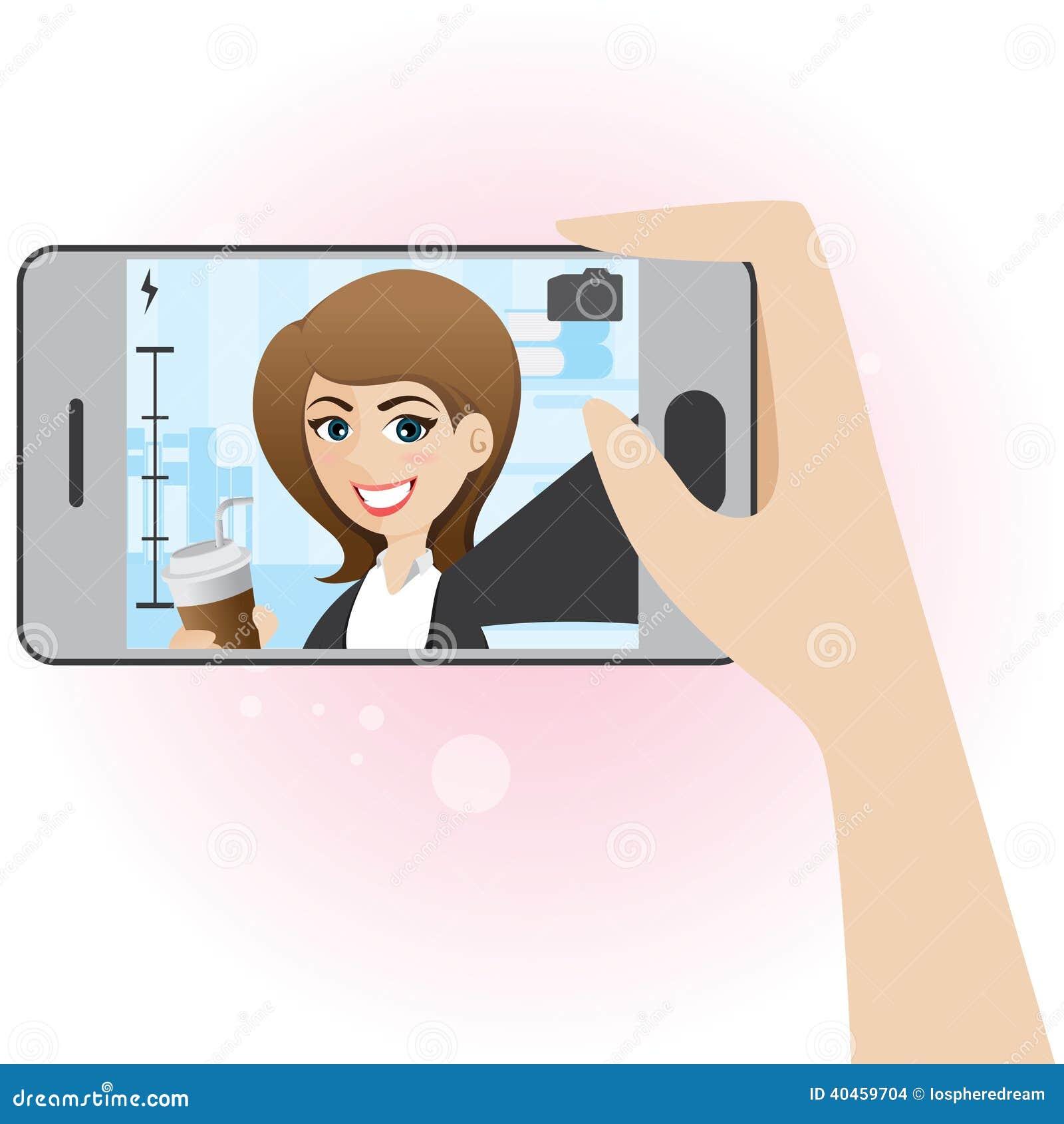 Cartoon Cute Girl Take Selfie Photo Stock Vector Image