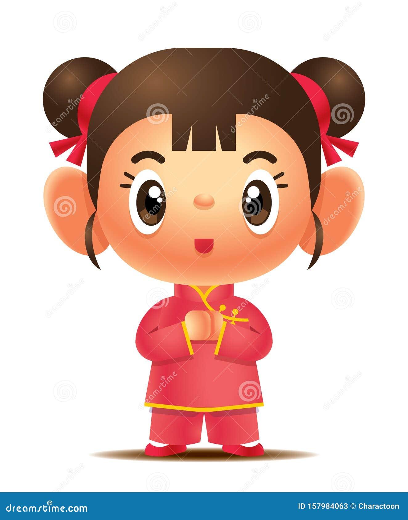 Cartoon Cute Girl Wearing Traditional Chinese Cheongsam ...