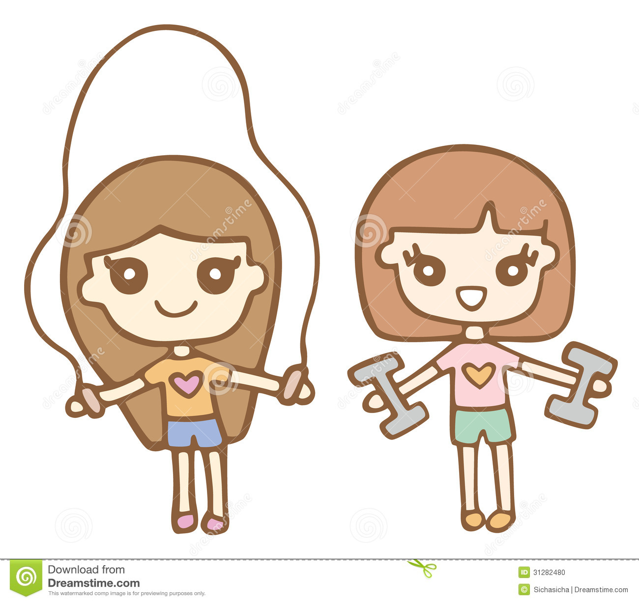 Stock Photo Cartoon Cute Girls Exercising Using Dumbells Vector Illustration Image31282480 on christmas tree themes
