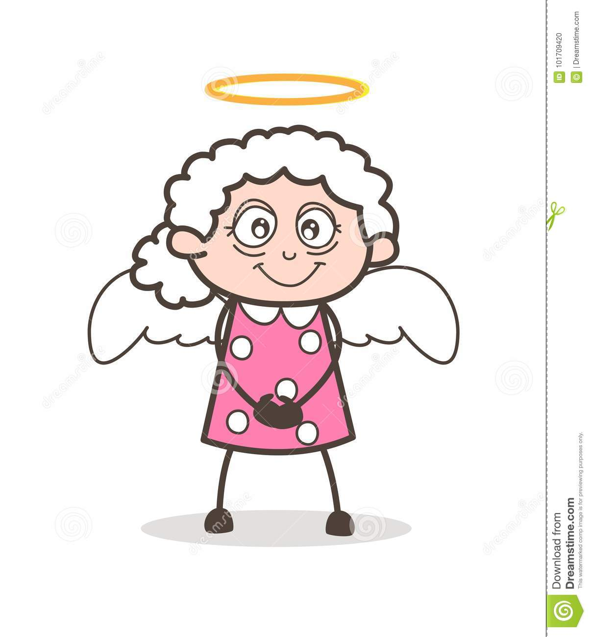 Cartoon Character Design Vector : Cartoon cute granny angel vector character stock