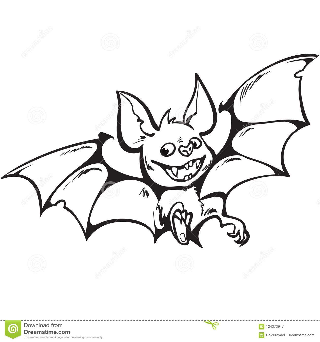 cartoon cute happy vampire bat. halloween character black and white