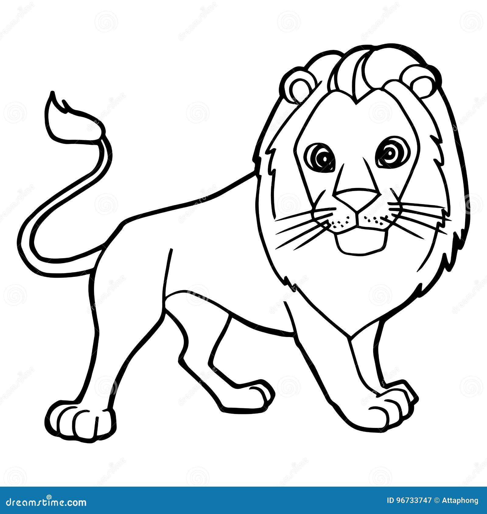Cartoon Cute Lion Coloring Page Vector Stock Vector Illustration