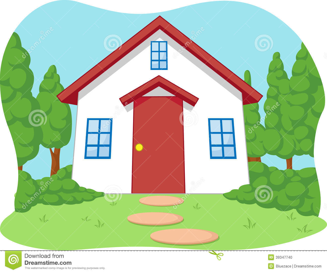 Printable Tree House Plans: Cartoon Of Cute Little House With Garden Stock Vector