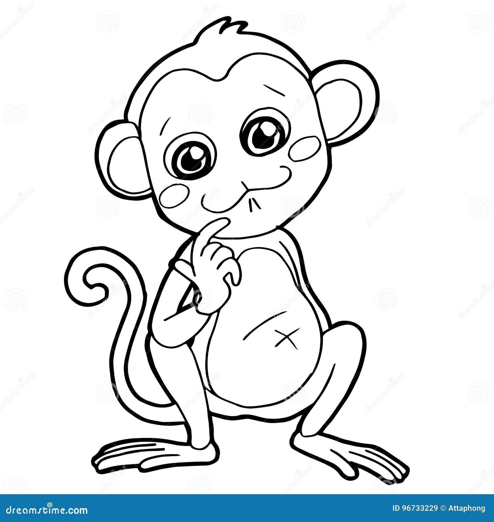 Cartoon Cute Monkey Coloring Page Vector Stock Vector - Illustration ...
