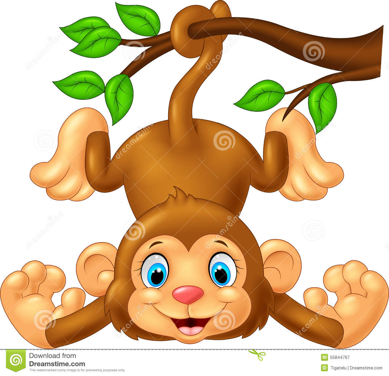 cartoon cute monkey hanging on tree branch stock vector monkey hanging upside down clipart hanging monkey clipart png