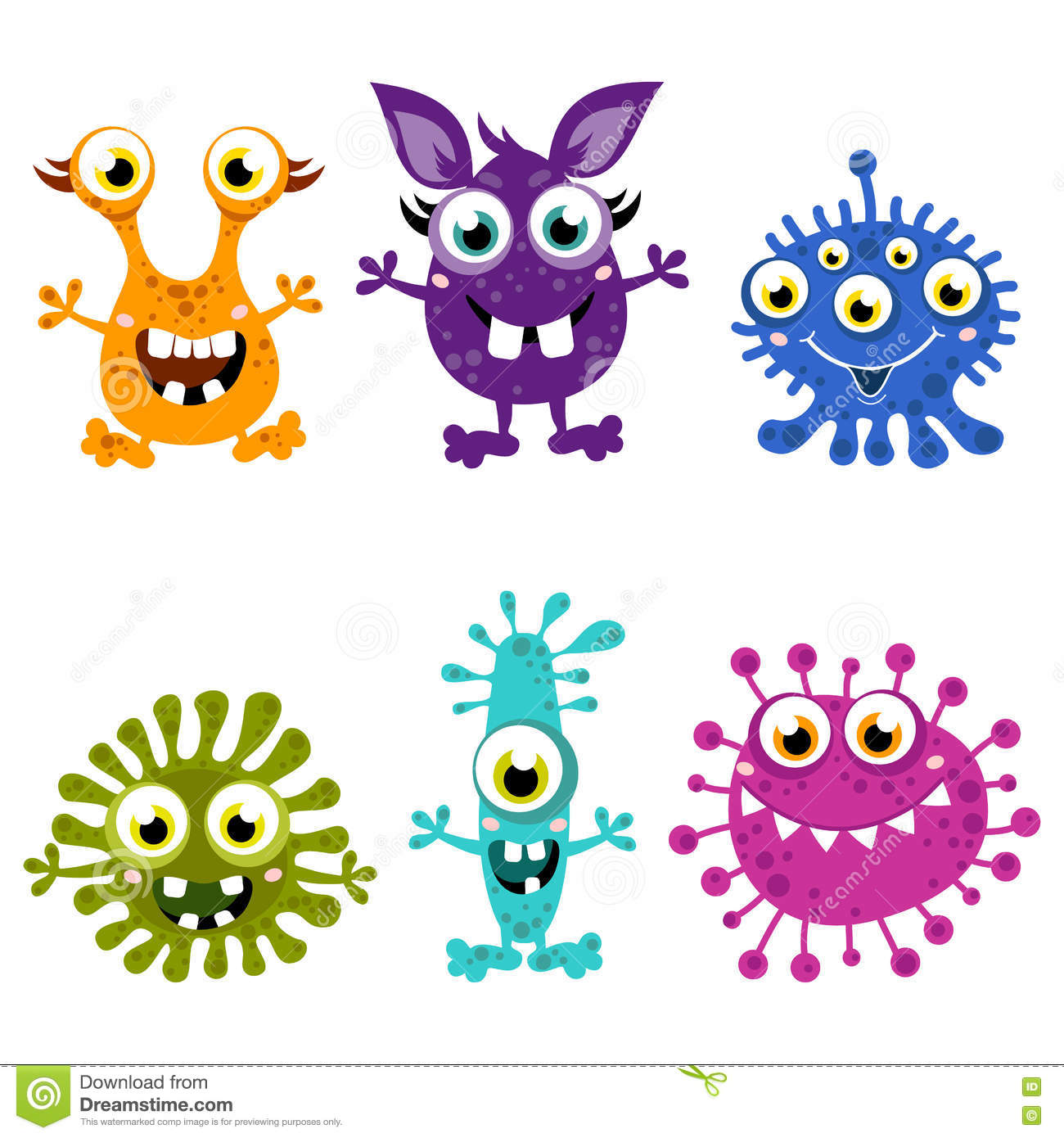 cartoon cute monster set colorful monsters with different emotions