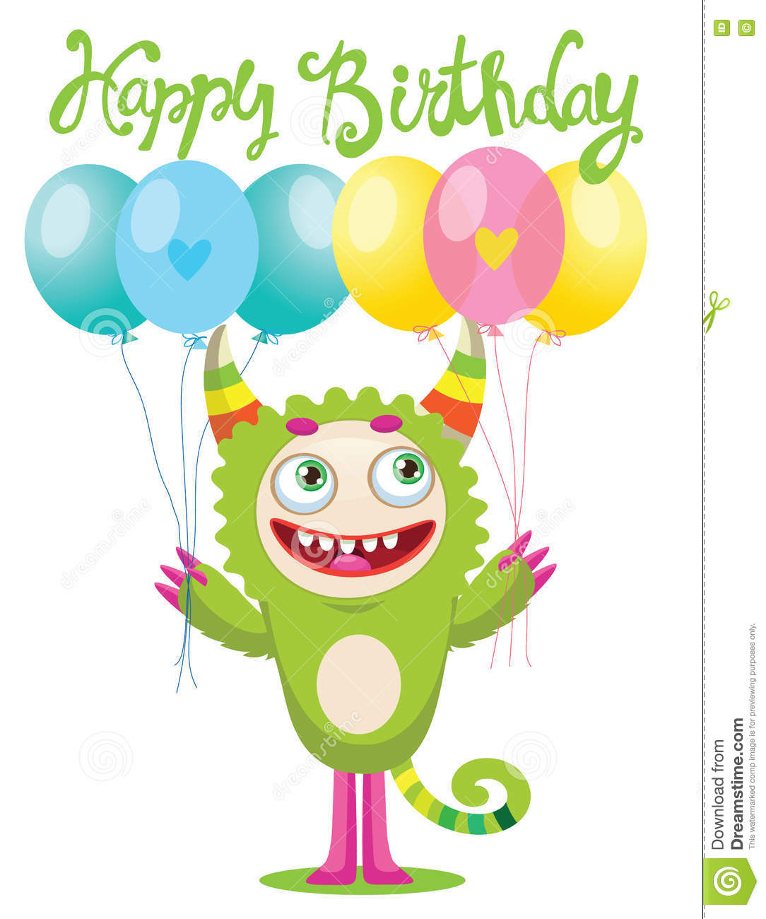 Cartoon Cute Monster Vector Illustration Funny Birthday Greeting Card