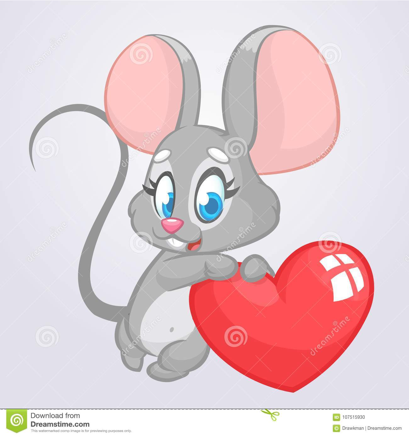 Cartoon Cute Mouse Holding A Love Heart Vector Illustration For St