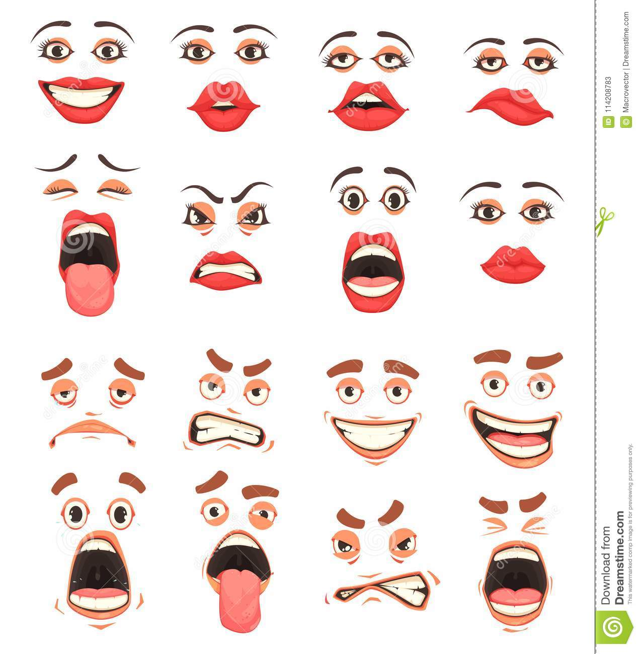 Cartoon Cute Mouth Set Stock Vector Illustration Of Human 114208783