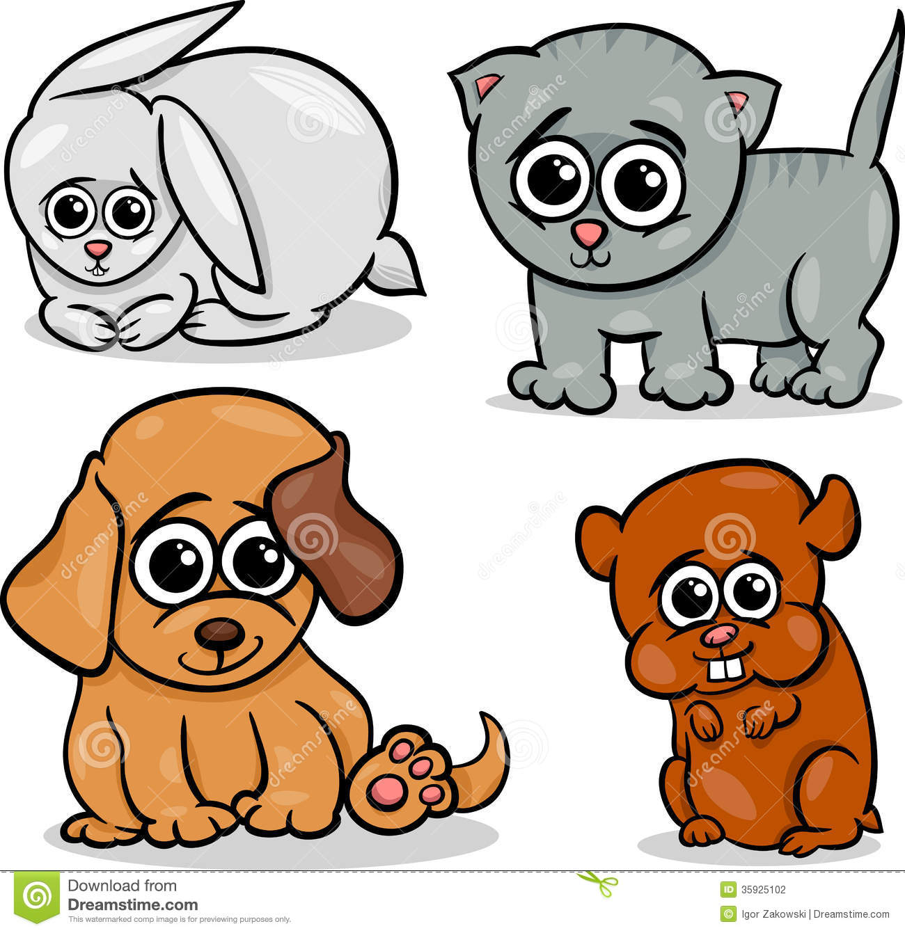 cartoon cute pets animals set stock photography image 35925102