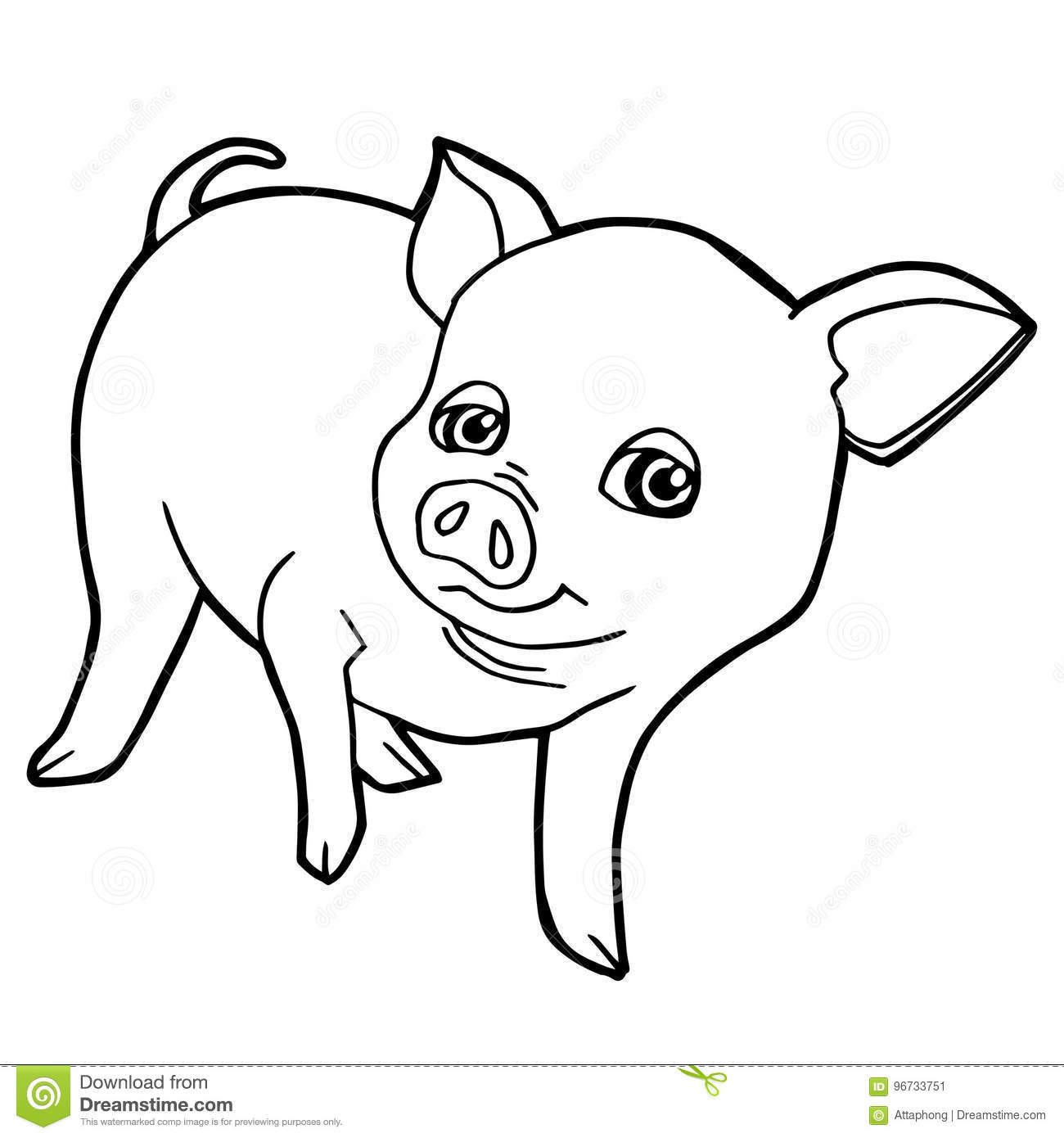 Cartoon Cute Pig Coloring Page Vector Stock Vector - Illustration of ...